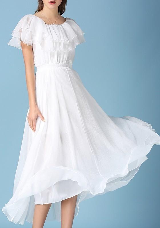 36d5c20c4a White Cascading Ruffle Pleated Off Shoulder Elegant Beach Maxi Dress in  2018