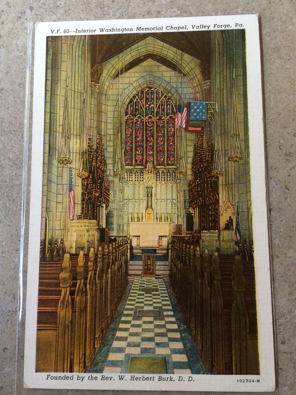 Interior Washington Memorial Chapel Valley Forge Pennsylvania Vintage Postcard Unposted Pennsylvania Postcard Pa 9 Vintage Postcard Chapel Postcard