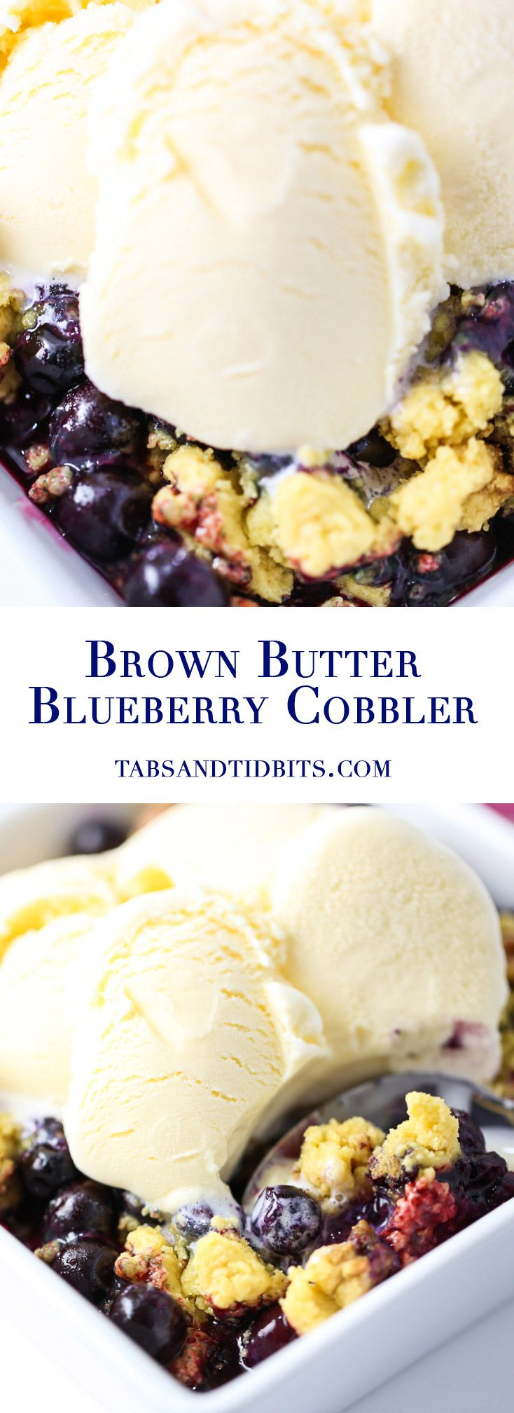 Brown Butter Blueberry Cobbler - A 4-ingredient blueberry cobbler with a rich brown butter streusel topping!