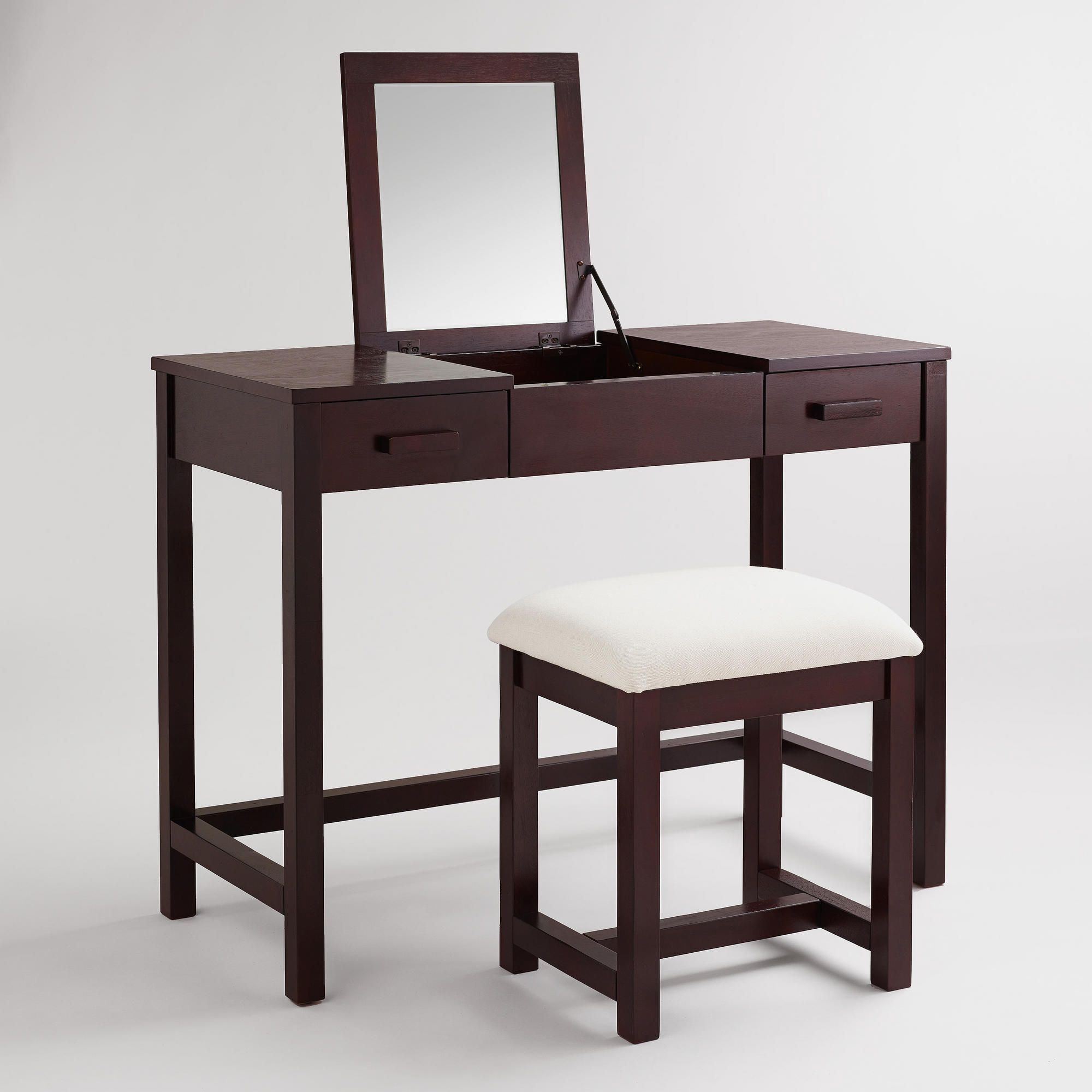 Dark Mahogany Chase Vanity Set Dressing Table With Stool Furniture Vanity Set