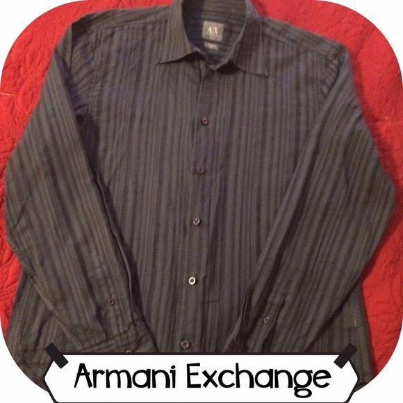Armani Exchange Men's shirt Men's 100% cotton Armani Exchange shirt. A unique yarn dyed construction adds subtle stripes and texture to this shirt. Dark blue. Gently worn. A/X Armani Exchange Tops Button Down Shirts