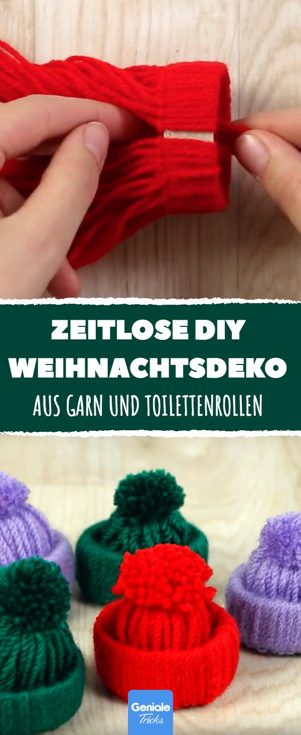 Aus etwas Garn und einer Toilettenrolle hübsche Mini-Bommelmützen für den Wei…