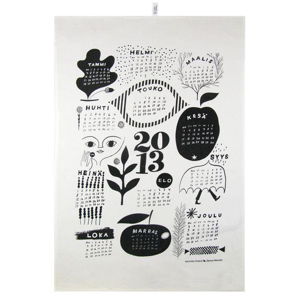 Kalenteri 2013 keittiöpyyhe, musta-valkoinen