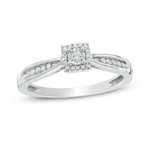 Zales 1/6 CT. T.w. Diamond Composite Square Ring in 10K White Gold 4OQRvt