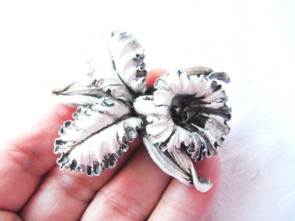 Vintage Orchid Brooch White w Black Accents Plastic Lucite 2 1 4 inch Long | eBay