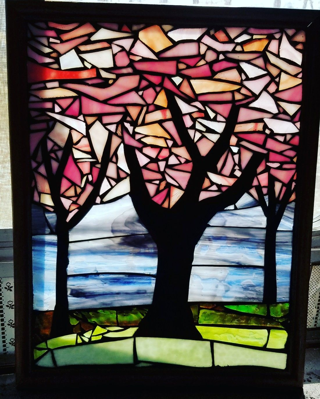 Stained Glass Mosaic Cherry Blossom Panel By Chanda Froehle More Of My Work Can Be Found At Www Groovysquidglass Mosaic Glass Stained Glass Art Stained Glass