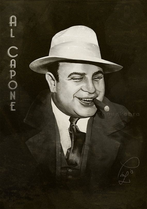Al Capone Art Print Of A Digital Painting Giclee Print Historical Mobster Illustration Famous Gangster Portrait Retro Gangster Drawings Al Capone Gangster