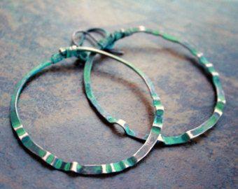 Kupfer Grüne Patina gehämmert kupfer creolen sunburst grüne patina draht eyecatcher