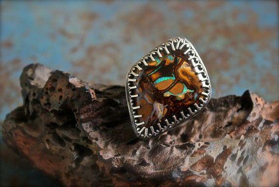 Boulder Opal set in Sterling Silver Ring Size by RoseMetalsJewelry, $195.00
