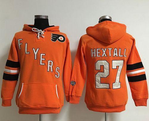 Philadelphia Flyers  27 Ron Hextall Orange Women s Old Time Heidi NHL Hoodie fa57f72e5