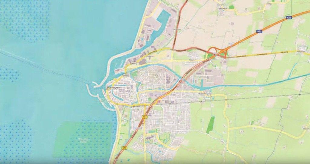Kaartanimatie van 115 jaar groei van Harlingen