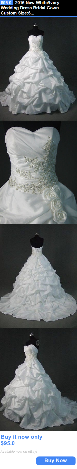 Wedding Dresses: 2016 New White/Ivory Wedding Dress Bridal Gown Custom Size:6/8/10/12/14/16/18/20 BUY IT NOW ONLY: $95.0