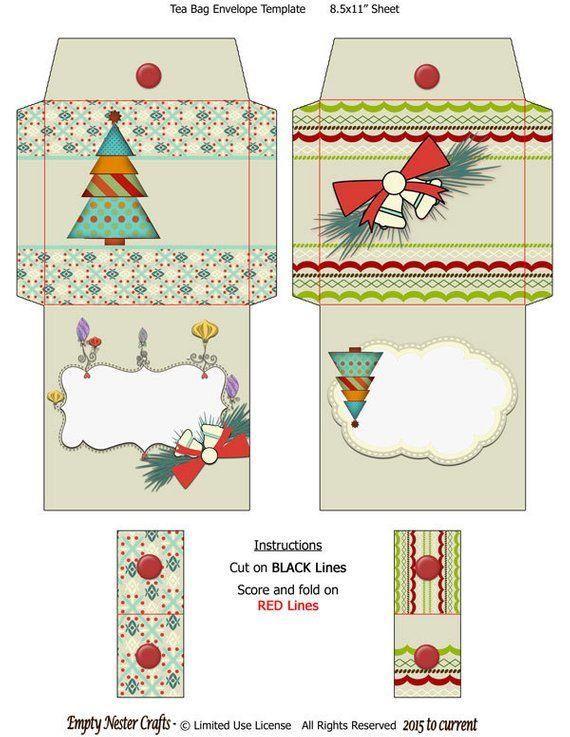 printable digital tea bag packet wrapper envelope topper bright
