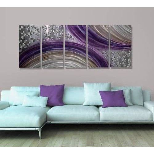 Abstract Purple and Silver Modern Metal Wall Art Painting Decor ...