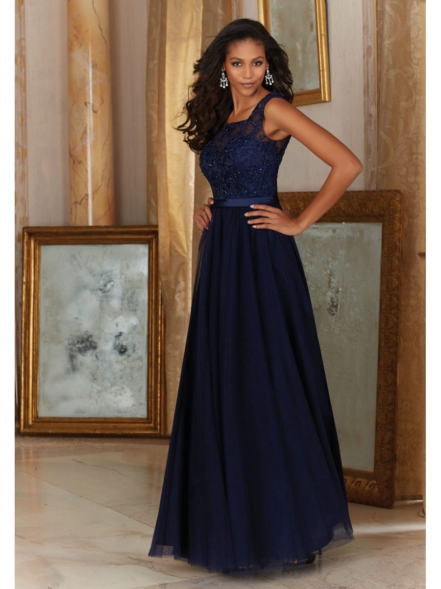 Affordable navy long tulle embroidered illusion neckline affordable navy long tulle embroidered illusion neckline bridesmaid dresses 5602032 ombrellifo Choice Image