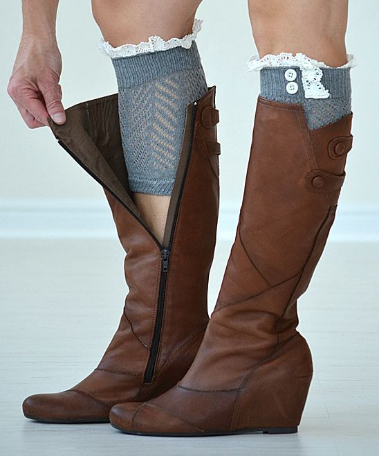 PeekABootSocks Dark Gray Lucy Boot Cuffs