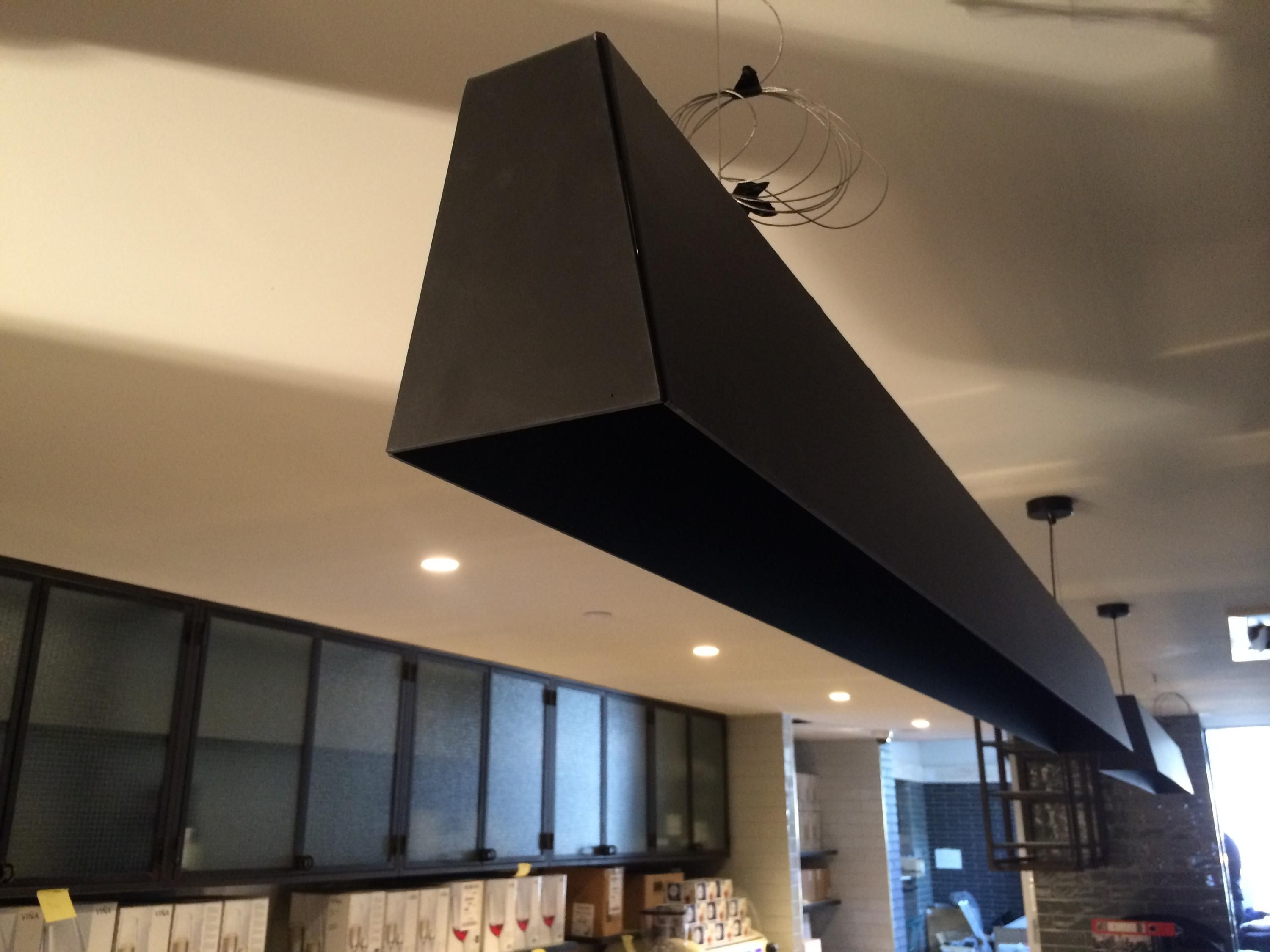 Our Custom Made Linear Pendant Light Being Installed The Bellevue Hotel Custompendant Lightingguild