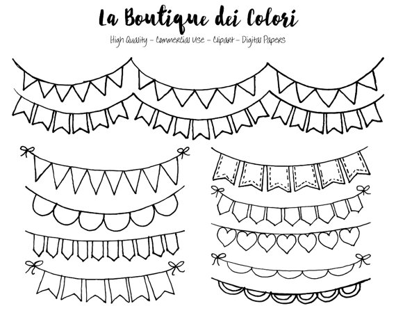 20+ Black And White Bunting Clipart