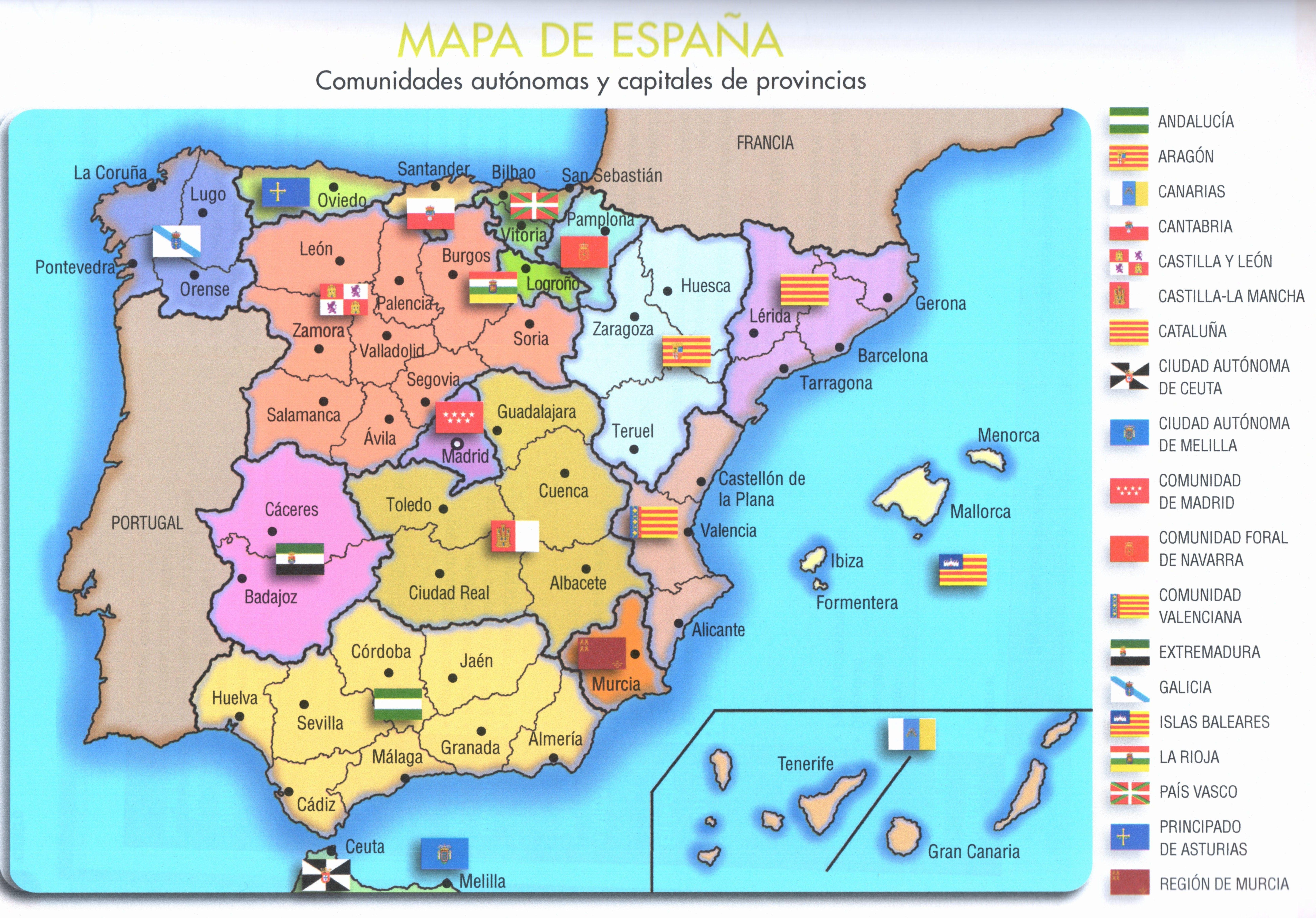Mapa De España Espagnol Apprendre Langue Espagnole Cours Espagnol
