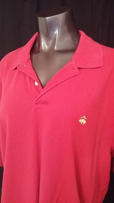 Brooks Brothers 346 Original Mens Short Sleeve Polo Shirt Red Gold