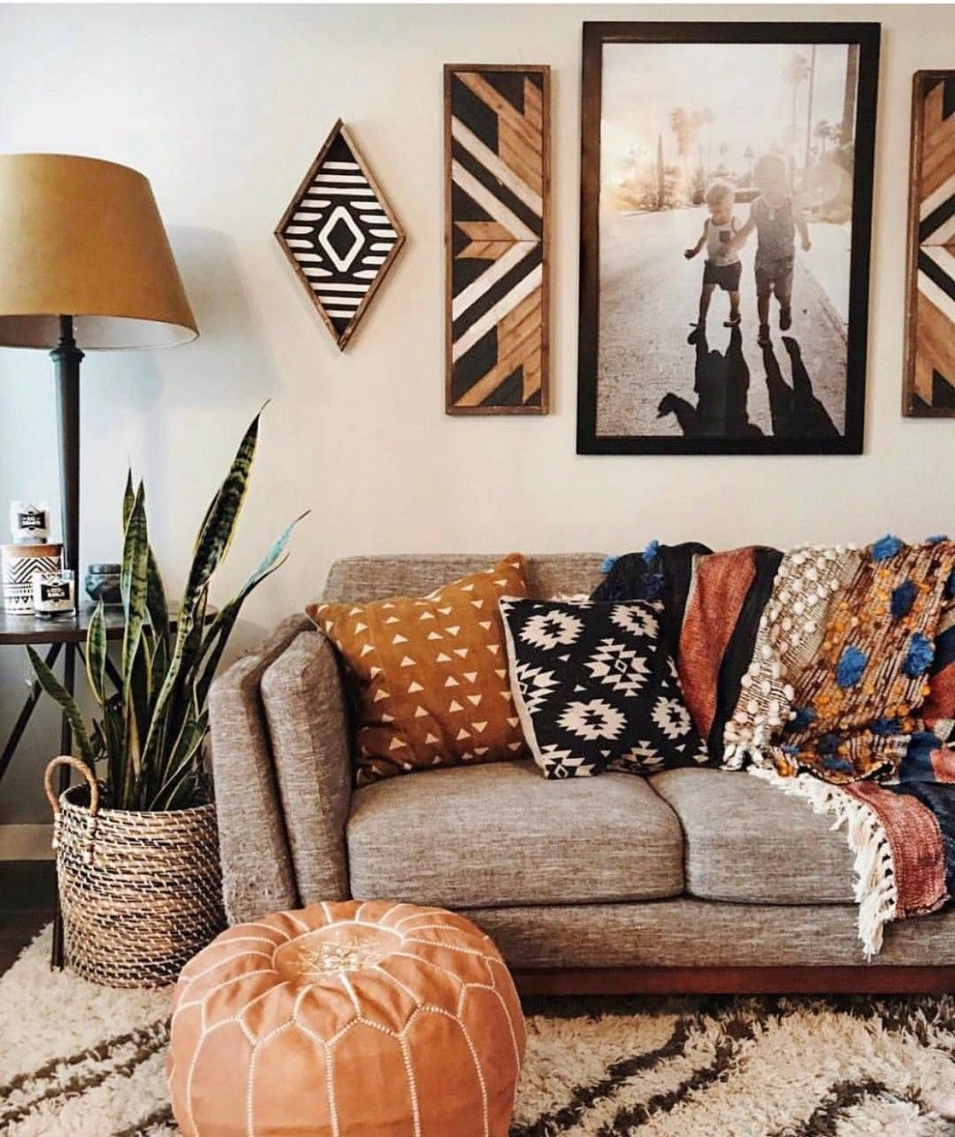 Grey Couch White Walls Bohemian Accents In 14 Living