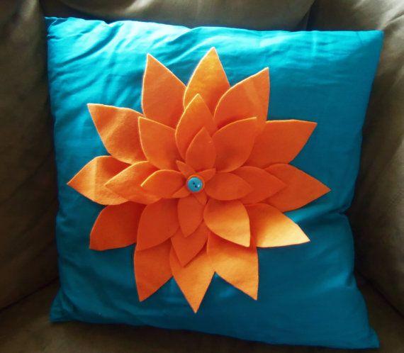 Felt Chrysanthemum Pillows by ArsenaultFreelance on Etsy