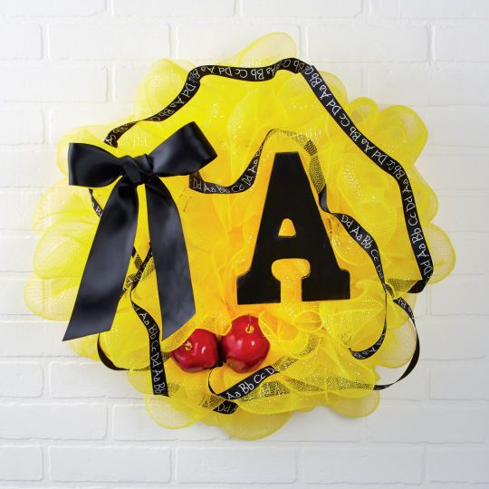 Easy Diy Quot A Quot Teacher Mesh Wreath For Classroom Or
