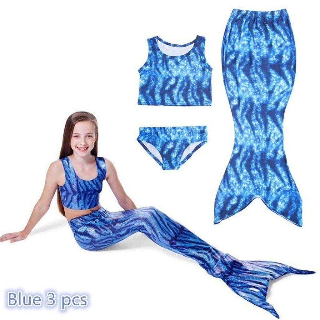 f554af2fc14 Girls Kids Mermaid Tail Swimmable Bikini Set Swimwear Swimsuit ...