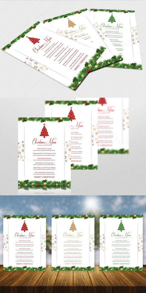 Christmas Menu Template-V448. Flyer Templates. $7.00