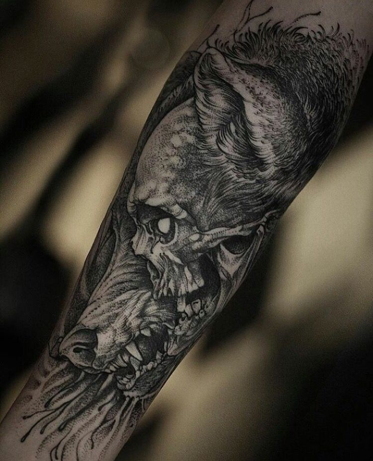 wolf skull dot work tattoos wolf skull