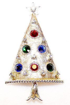 Vntg NEW EISENBERG ICE Silver STYLIZED Rhinestones CHRISTMAS TREE PIN on CARD