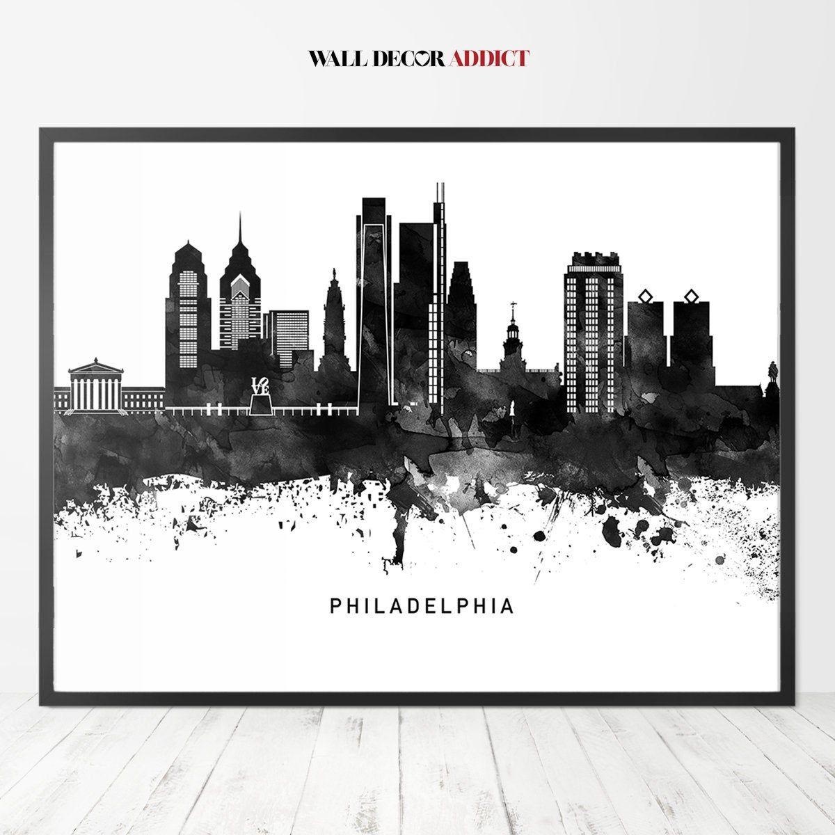 Philadelphia Print Philadelphia Skyline Poster Philadelphia Black And White Wall Art Home D Philadelphia Skyline Philadelphia Print Black And White Wall Art