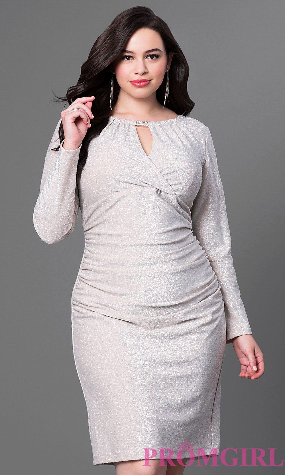 Longsleeve kneelength plussize dress with