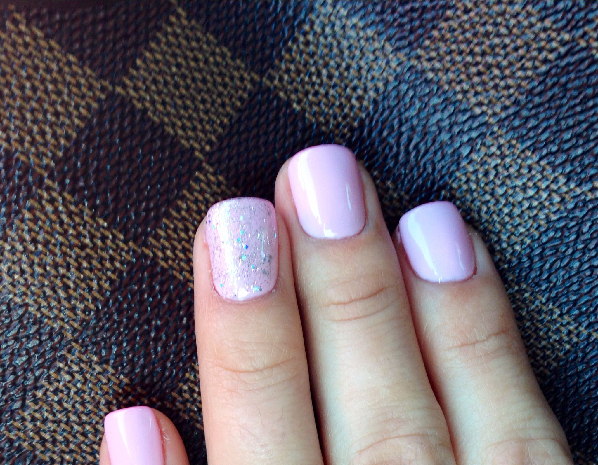 Gel mani baby pink. Silver glitter. Everyday nail color. Spring nail ...