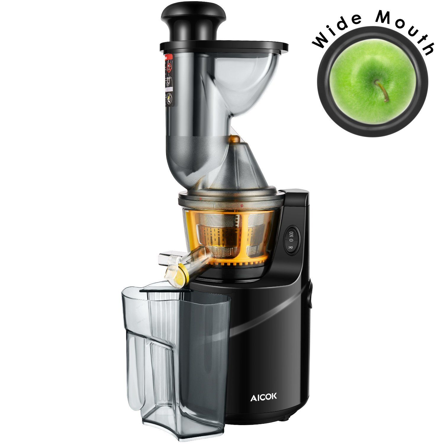 Aicok Juicer, Whole Slow Masticating Juicer, 75MM Wide Mouth