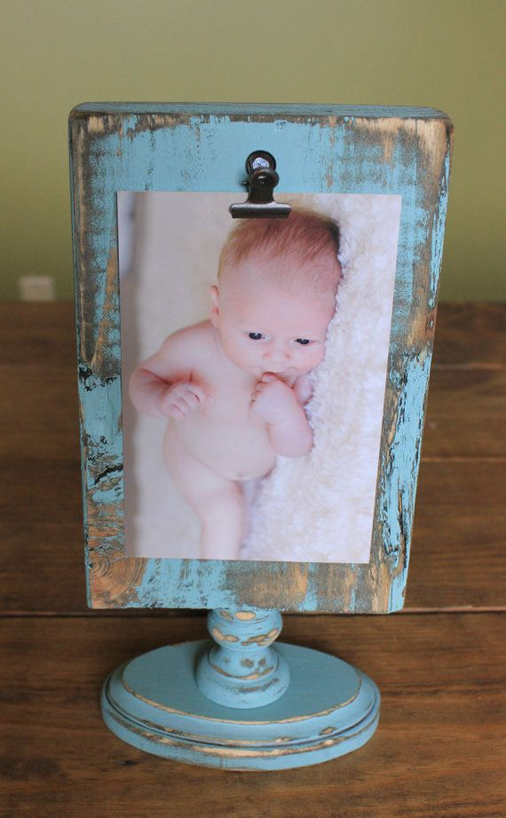 Shabby chic and rustic clip frame. Rustic picture frame holds 4x6 ...