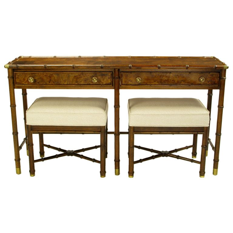 View This Item And Discover Similar Console Tables For Sale At   This  Vintage Campaign Style Console By Grand Rapids Furniture Maker Hekman  Features A Burl ...