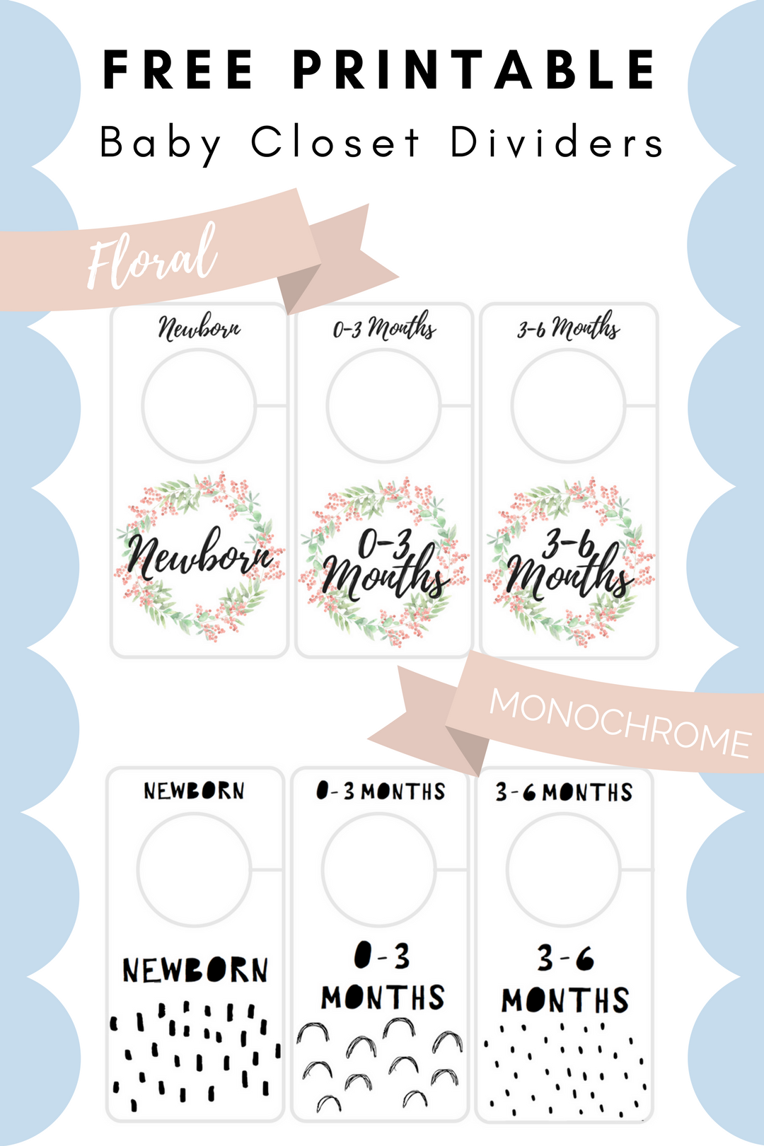 Free Printable Baby Closet Dividers Preemie To 24 Months