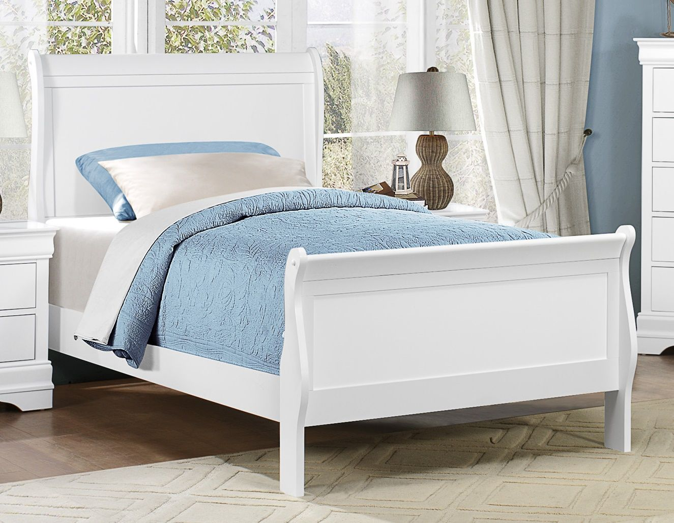 Mayville Classic Wood/Wood Veneer Bed, Twin Size White