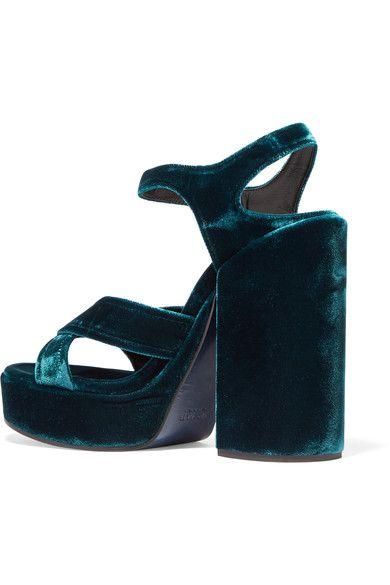 4621d7392889 Jil Sander - Velvet Platform Sandals - Teal