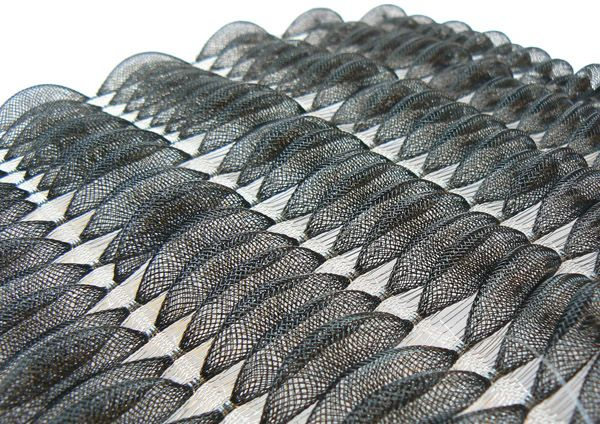 3D Textiles Design - monochrome woven fabric with repeating shapes & textures; textile manipulation // Matières Ouvertes
