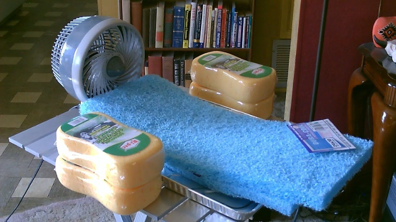 "Homemade ""Sponge"" Humidifier/Air Cooler. Made using sponge"