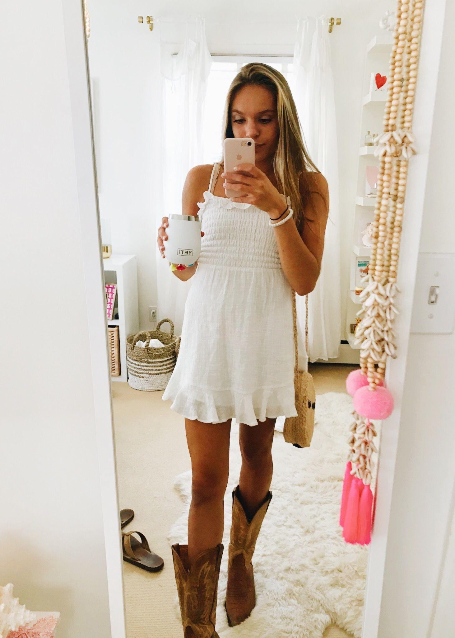 White Dress Cowgirl Cowboy Boots Fashion Outfit Fashion Outfits Dresses With Cowboy Boots White Dress [ 2049 x 1463 Pixel ]