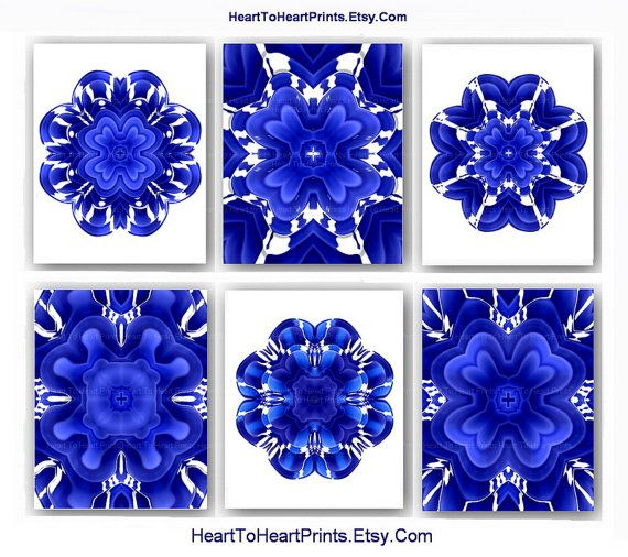 Blue wall art royal blue wall decor cobalt blue white floral