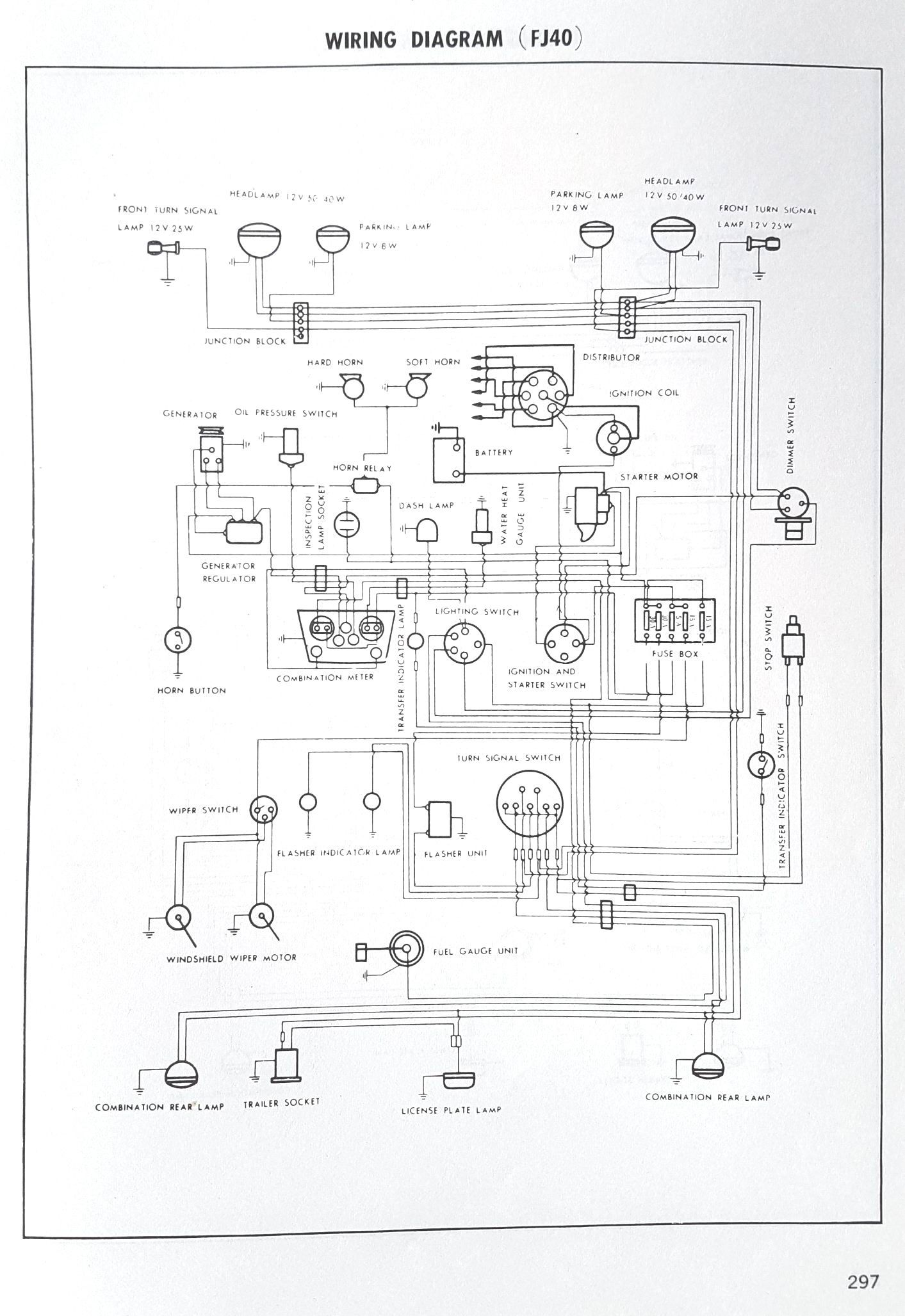 toyota landcruiser service manual wiring diagram fj40 fj 40 rh pinterest co uk