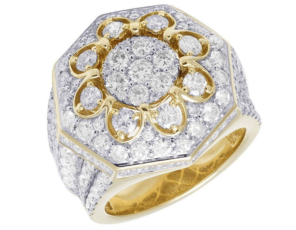 Yellow Gold Over Mens Round 2.60 Ct Diamond Wedding