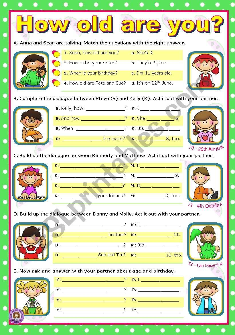 Kids Match The Questions To The Answers How Old Are You Is He Or She Are They And When Is Your Birthday And Then They Comple Vocabulary Dialogue Old Things [ 1169 x 821 Pixel ]