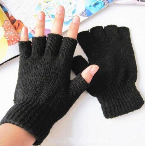 Men Black Knitted Stretch Elastic Warm Half Finger Fingerless Gloves