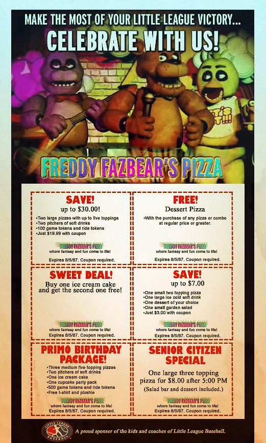 mr freddys real life freddy fazbear s pizza coupons by mrangrydog
