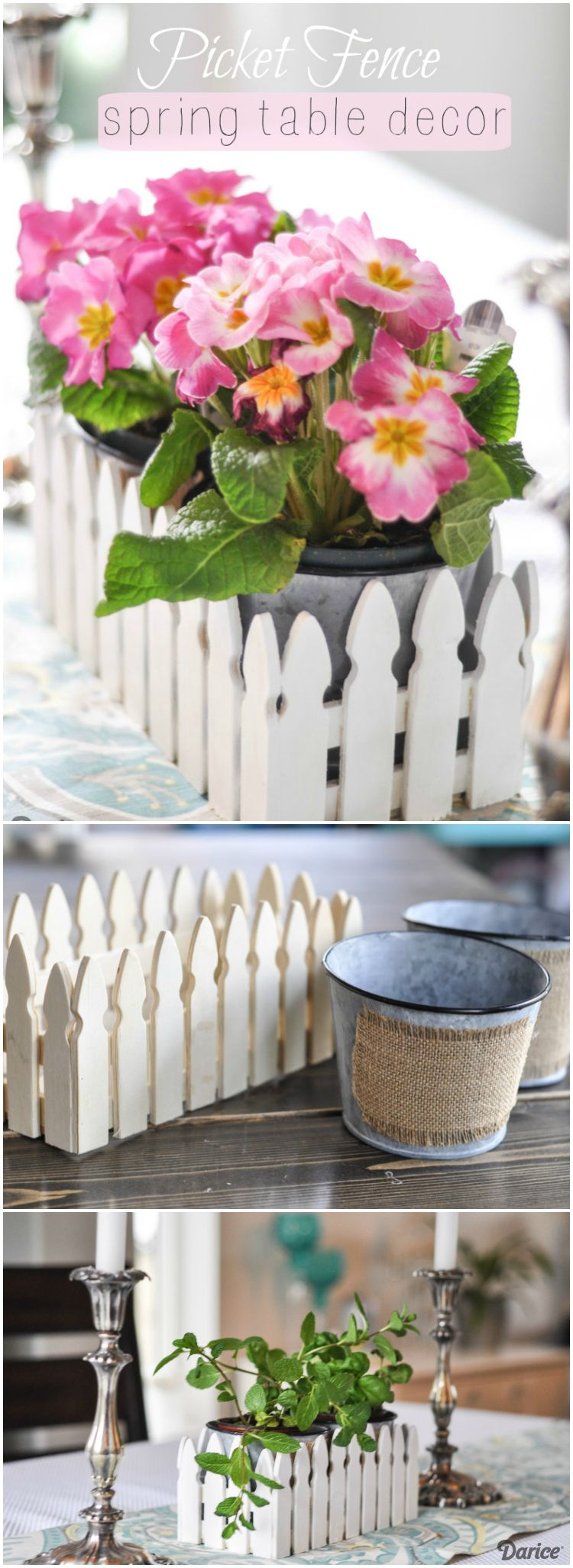 Transform our unfinished picket fence container into sweet spring table decor in no time. Create a darling centerpiece with just a few supplies!